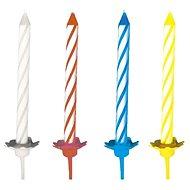 Sviečky tortové, 6 cm, so stojančekom, prúžky, mix farieb, 24 ks - Sviečka