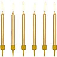 Sviečky tortové, 6 cm, zlaté, 6 ks - Sviečka
