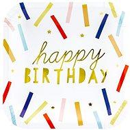 Talíře papírové, 20x20cm, Happy Birthday, zlatý nápis, barevné proužky, 6ks - Jednorazový riad