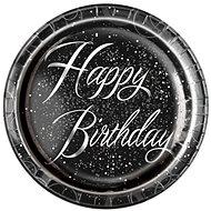 Talíře papírové, O 23cm, Happy Birthday, stříbrný nápis, 8ks - Jednorazový riad