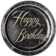 Talíře papírové, O 23cm, Happy Birthday, zlatý nápis, 8ks - Jednorazový riad
