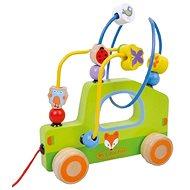 Drevený ťahací labyrint autíčko sun baby AB3354 , E01.009.1.1 - Drevená hračka