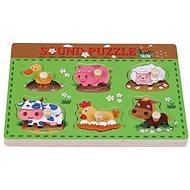 Dřevěné puzzle farma se zvuky sun baby AB6362, E01.025.1.1 - Drevené Puzzle