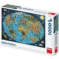 Kreslená Mapa Sveta 1000 Puzzle Nové - Puzzle