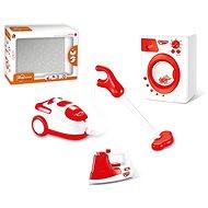 Souprava domácích spotřebičů na baterie (žehlička, pračka, vysavač) - Detské spotrebiče