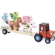 Vilac Drevený traktor so zvieratkami na nasadzovanie - Drevená hračka