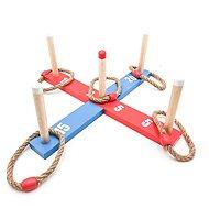 Hádzacia hra kríž s kruhmi drevo/povraz 12 ks - Záhradná hra