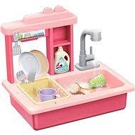 Kuchynka Teddies Drez na umývanie riadu ružový + kohútik na vodu s doplnkami