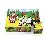 Drevené kocky Teddies Kocky kubus drevené Moje prvé rozprávky, 12 ks