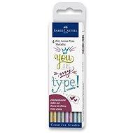 Popisovače Faber-Castell Pitt Artist Pen Metallic, 4 farby - Popisovač