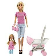 Sada bábika Anlily kĺbová s dievčatkom a kočíkom + doplnky
