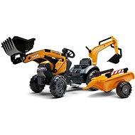 Traktor šliapací Case Constraction 580 Super N oranžový s prednou aj zadnou lyžicou a prívesom - Šliapací traktor
