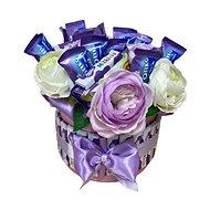 Kvetinový box fialový s Milka dobrotami 27 cm - Darčekový box