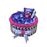 Milka jednoposchodová torta so sviečkou 23 cm - Darčekový box
