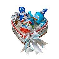 Veľkonočný darčekový box v tvare srdca z Kinder dobrôt modrý 30 cm - Darčekový box