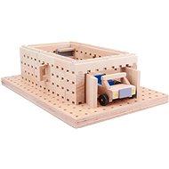 Drevená stavebnica Buko –  Garáž s autíčkom 98 dielov - Drevená stavebnica