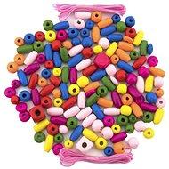 Teddies Koráliky drevené farebné s gumičkami cca 90 ks, v plastovej dóze