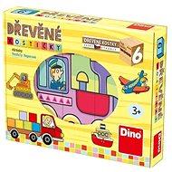 Drevené kocky Dino Dopravné prostriedky - Dřevěné kostky