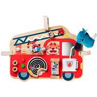 Didaktická hračka Lilliputiens – drevený panel s aktivitami – hasičské auto