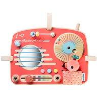 Didaktická hračka Lilliputiens – drevený panel s aktivitami – rádio