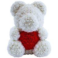Rose Bear Biely medvedík z ruží s červeným srdcom 38 cm - Medvedík z ruží
