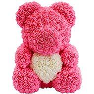 Rose Bear Ružový medvedík z ruží s bielym srdcom 38 cm - Medvedík z ruží