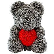 Rose Bear Sivý medvedík z ruží s červeným srdcom 38 cm - Medvedík z ruží