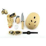 Vojenská súprava s prilbou - Pištoľ