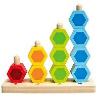 Hape Navliekacie farebné šesťboké tvary - Drevená hračka
