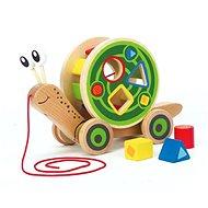 Hape Ťahačka slimák s vkladacími geometrickými tvarmi - Drevená hračka
