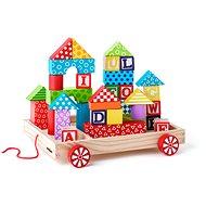 Woody Vozík s kockami/pečiatkami ABC - Stavebnica