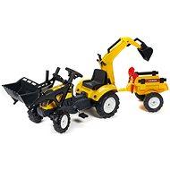 Traktor žltý s prednou a zadnou lyžicou - Šliapací traktor