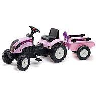 Traktor s valníkem - růžový - Šliapací traktor