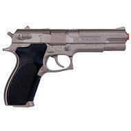 Policajná pištoľ strieborná matná kovová 8 rán - Detská pištoľ