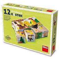 Drevené kocky Dino Domáce zvieratká, 12 kociek - Dřevěné kostky