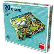 Drevené kocky Dino Na statku 20 kociek - Dřevěné kostky