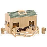 Melissa-Doug Rozkladacia stajňa s koňmi - Drevená hračka
