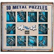 Súprava 10 hlavolamov kov modrá - Hlavolam