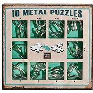 Súprava 10 hlavolamov kov zelená - Hlavolam