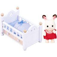Sylvanian Families Nábytok chocolate králikov – baby králik v postieľke - Herná sada