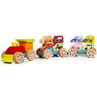 Cubika 13999 Vláčik s autami - Drevená hračka