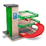 Woody Garáž s výťahom a SIKU autíčkami – drevo/plast - Garáž
