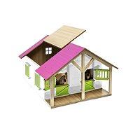 Mikro Trading Kids Globe Stajňa pre kone s dielňou – ružová - Drevený model