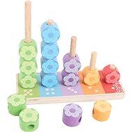 Didaktická hračka Bigjigs Nasadzovanie farebných kvetiniek - Didaktická hračka