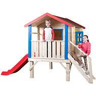 Woody Záhradný domček s podestou, zábradlím a šmýkačkou - Detský domček