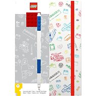 LEGO Stationery Zápisník A5 s modrým perom – biely, červená doštička 4 × 4 - Zápisník