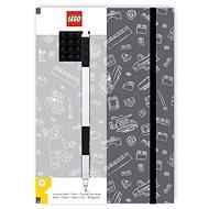 LEGO Stationery Zápisník A5 s čiernym perom – sivý, čierna doštička 4 × 4 - Zápisník