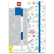 LEGO Stationery Zápisník A5 s modrým perom – biely, modrá doštička 4×4 - Zápisník