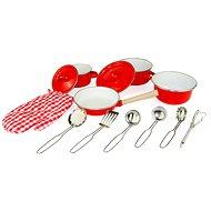 Woody Červený kuchynský riad s chňapkou, 13 dielov - Detský riad