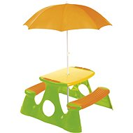 Piknikový stolík a lavice so slnečníkom - Stolík
